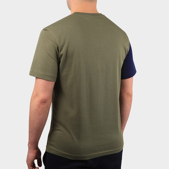 Lacoste Mens Green TH0113 Lettering Colourblock T-Shirt main image