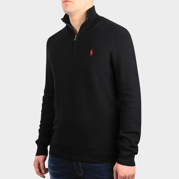 Polo Ralph Lauren Mens Black Waffle Half Zip Sweatshirt