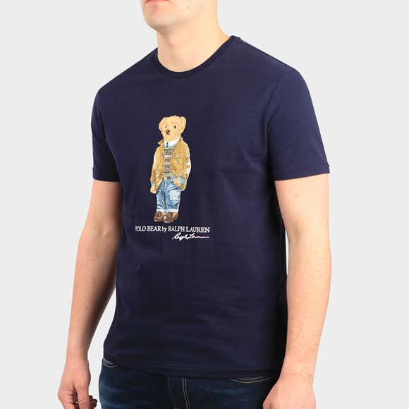Polo Bear By Ralph Lauren Mens Blue Custom Slim Fit Smart Bear T-Shirt