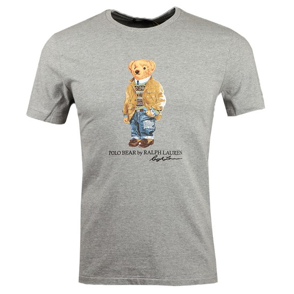 Polo Bear By Ralph Lauren Mens Grey Custom Slim Fit Smart Bear T-Shirt