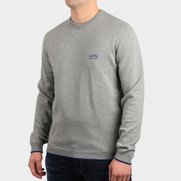 BOSS Mens Grey Athleisure Riston Knitted Jumper
