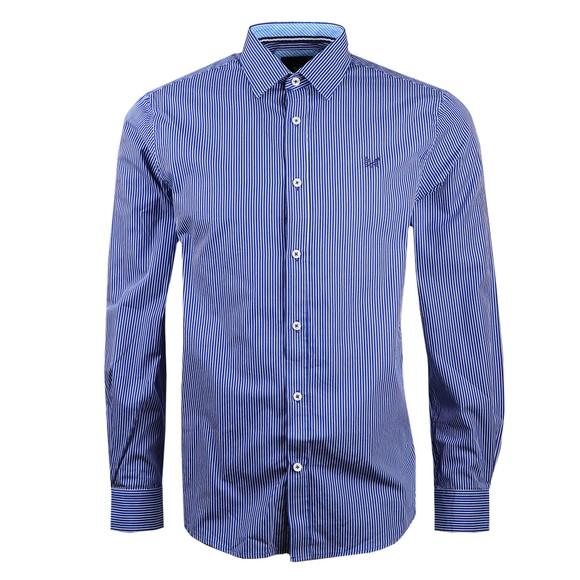 Crew Clothing Company Mens Blue Micro Stripe Shirt