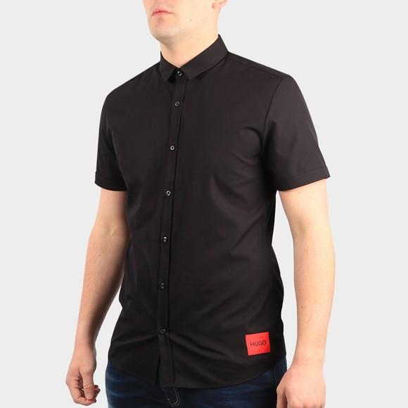 HUGO Mens Black Empson Square Badge Short Sleeve Shirt