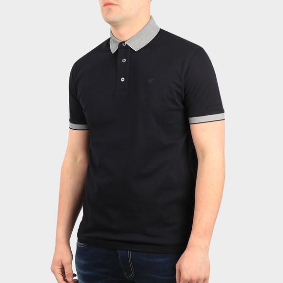 Emporio Armani Mens Blue 3K1FM5 Stripe Collar Polo Shirt