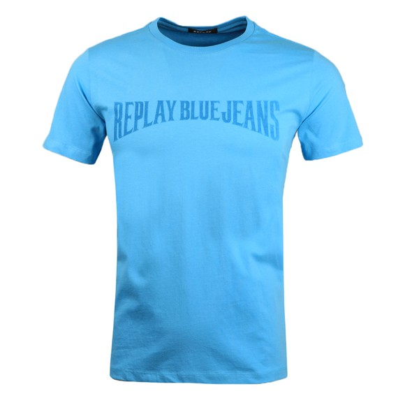 Replay Mens Blue Script Logo T Shirt