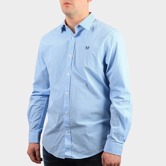 Crew Clothing Company Mens Blue Classic Micro Gingham Shirt