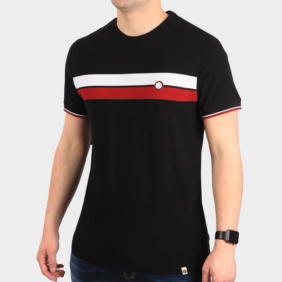 Pretty Green Mens Black Chest Stripe T-Shirt main image