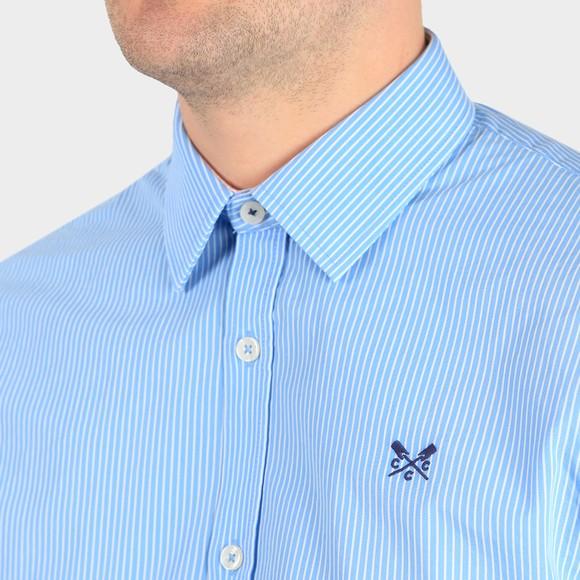 Crew Clothing Company Mens Blue Micro Stripe Shirt main image