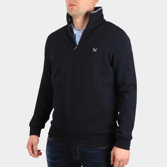 Crew Clothing Company Mens Blue Classic 1/2 Zip Sweat