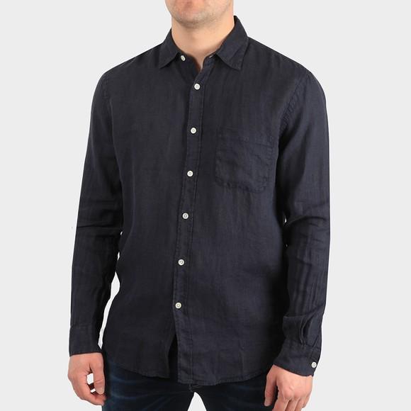 Portugese Flannel Mens Blue Linen Long Sleeve Shirt
