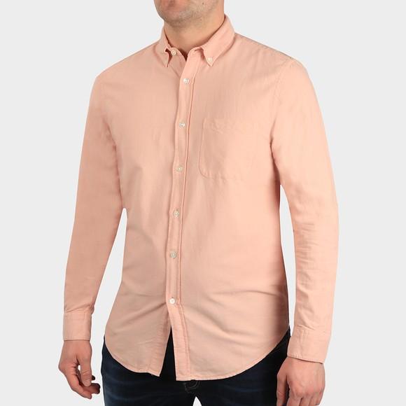 Portugese Flannel Mens Pink Belavista Plain Long Sleeve Shirt