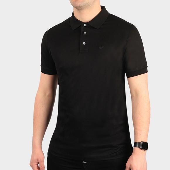 Emporio Armani Mens Black Pima Cotton Polo Shirt