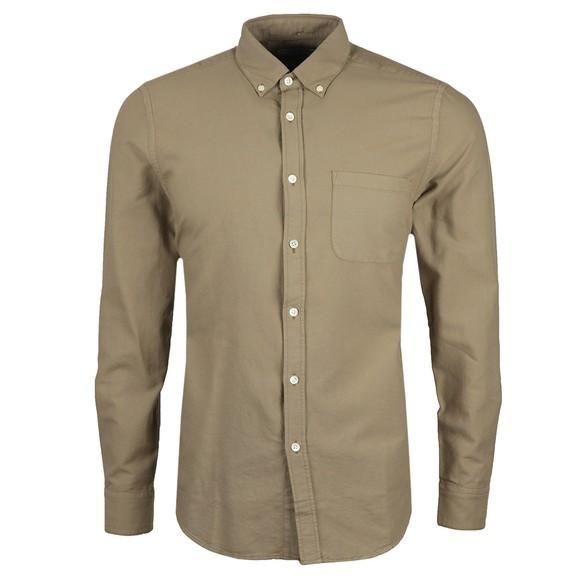 Portugese Flannel Mens Green Belavista Plain Long Sleeve Shirt