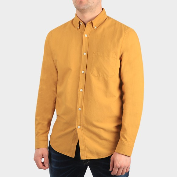 Portugese Flannel Mens Yellow Belavista Plain Long Sleeve Shirt