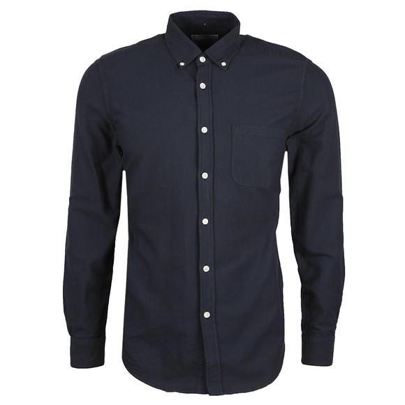 Portugese Flannel Mens Blue Belavista Plain Long Sleeve Shirt