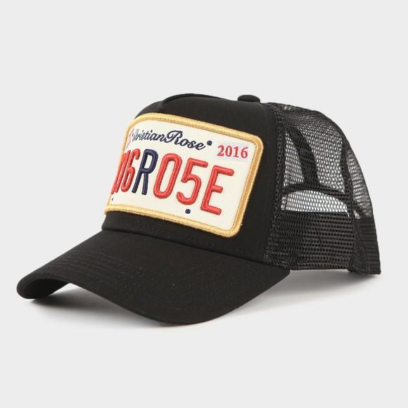 Christian Rose Mens Black Private Plate Cap