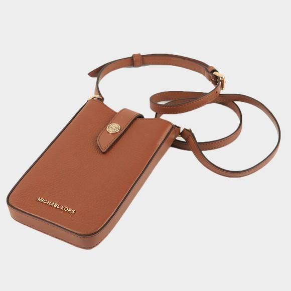 Michael Kors Womens Brown Charm Small Tab Phone Crossbody Bag main image
