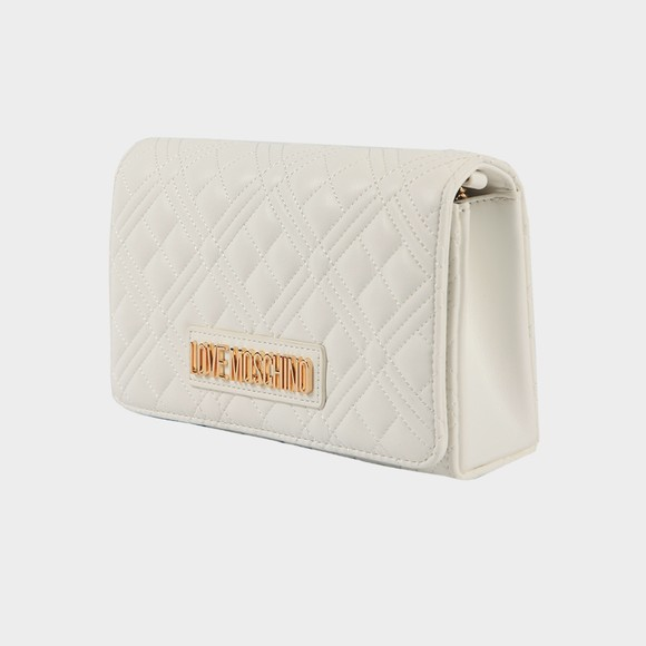 Love Moschino Womens White Borsa Quilted Clutch