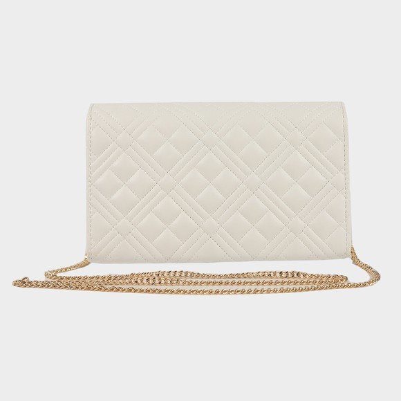 Love Moschino Womens White Borsa Quilted Clutch main image