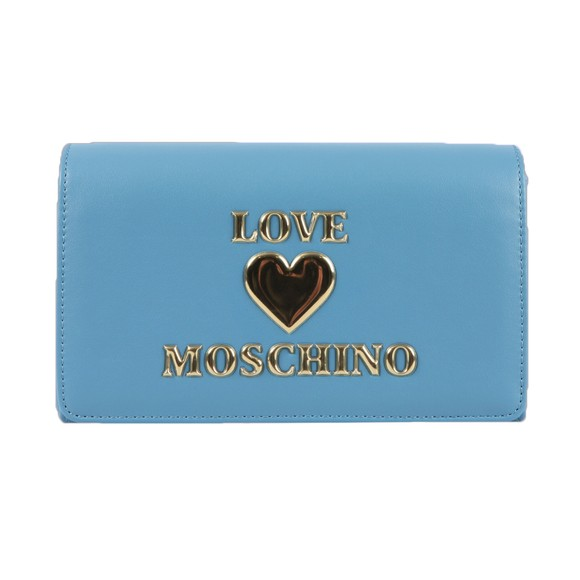 Love Moschino Womens Blue Padded Heart Evening Bag