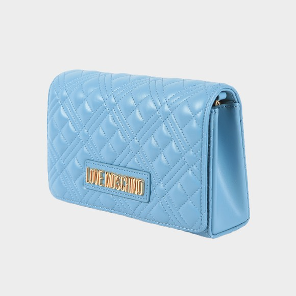 Love Moschino Womens Blue Borsa Quilted Clutch