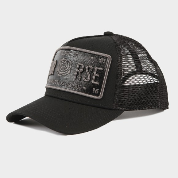 Christian Rose Mens Black Iconic Vinyl Plate Cap