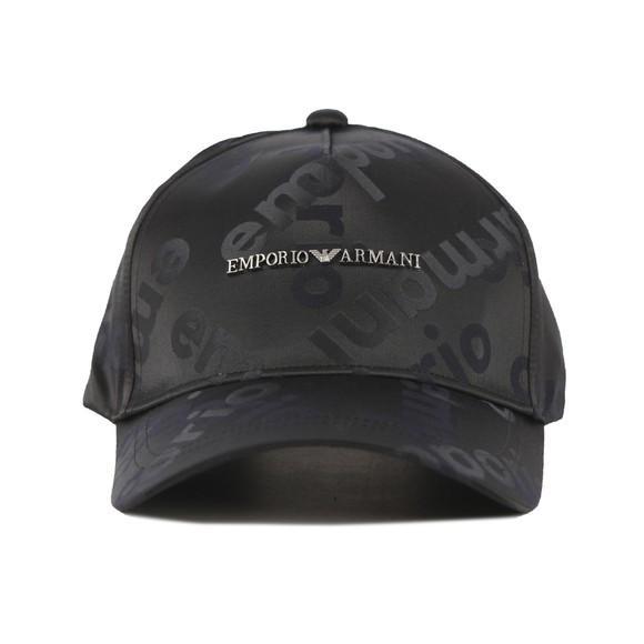 Emporio Armani Mens Black Metal Allover Logo Cap