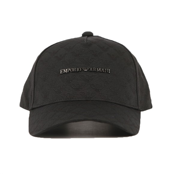 Emporio Armani Mens Black Allover Logo Metal Badge Cap