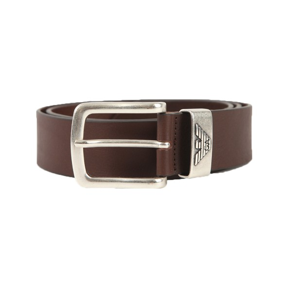 Emporio Armani Mens Brown Logo Keeper Belt