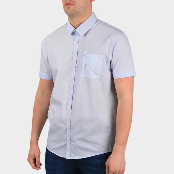 Luke 1977 Mens White SMM Short Sleeve Mixed Fabric Shirt