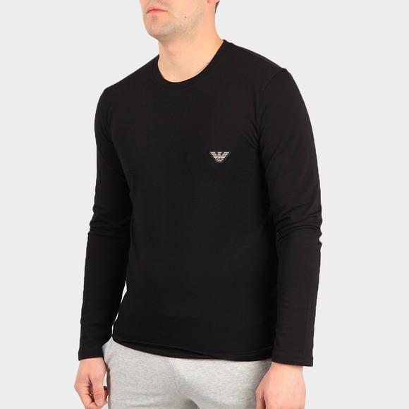 Emporio Armani Mens Black Embroidered Logo Stretch Long Sleeve T Shirt