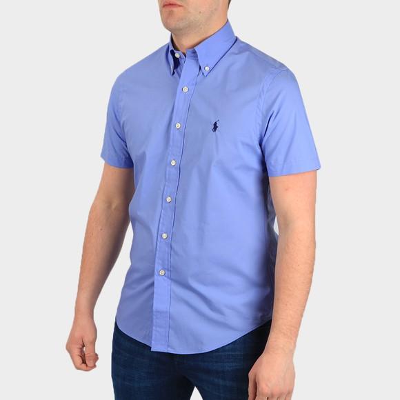 Polo Ralph Lauren Mens Blue Custom Fit Stretch Short Sleeve Shirt