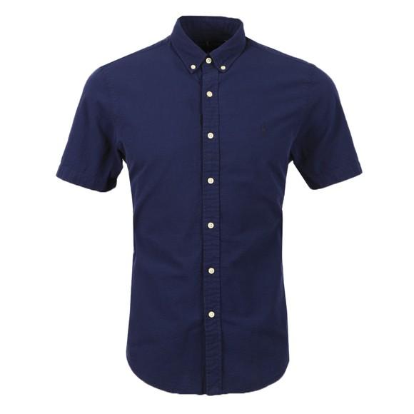 Polo Ralph Lauren Mens Blue Slim Fit Seersucker  Short Sleeve Shirt