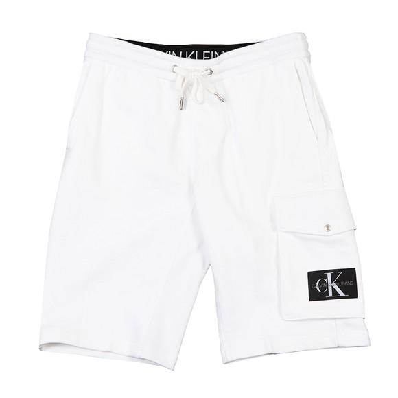 Calvin Klein Jeans Mens White Monogram Sweat Short