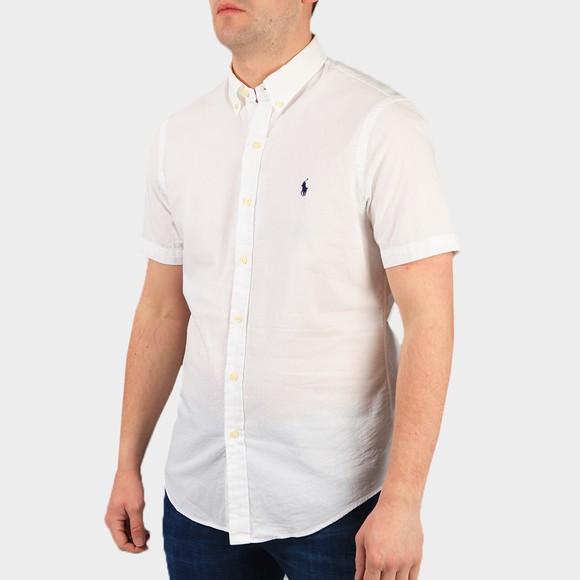 Polo Ralph Lauren Mens White Slim Fit Seersucker  Short Sleeve Shirt