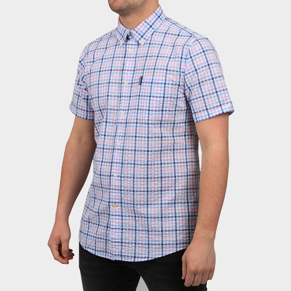 Barbour Lifestyle Mens Pink S/S Seersucker 6 Shirt