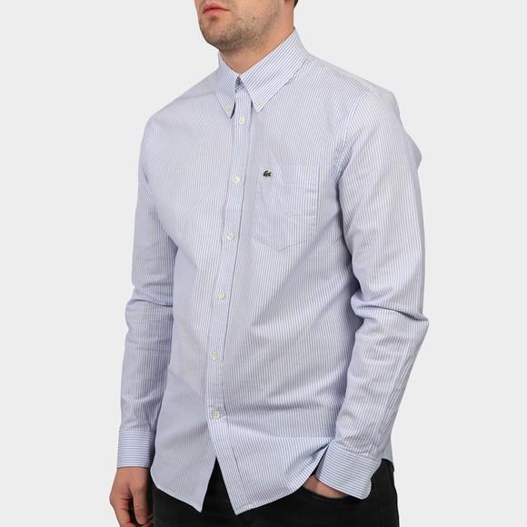 Lacoste Mens Blue Stripe Oxford Shirt