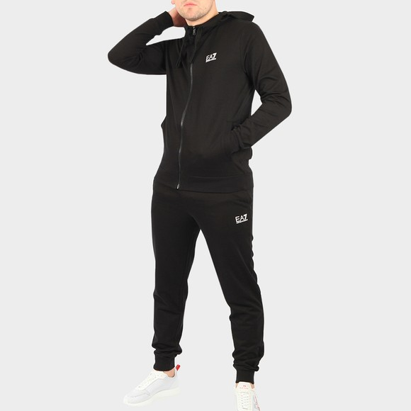 EA7 Emporio Armani Mens Black Small Logo Full Zip Hooded Tracksuit