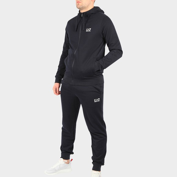 EA7 Emporio Armani Mens Blue Small Logo Full Zip Hooded Tracksuit