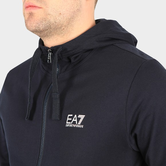 EA7 Emporio Armani Mens Blue Small Logo Full Zip Hooded Tracksuit main image