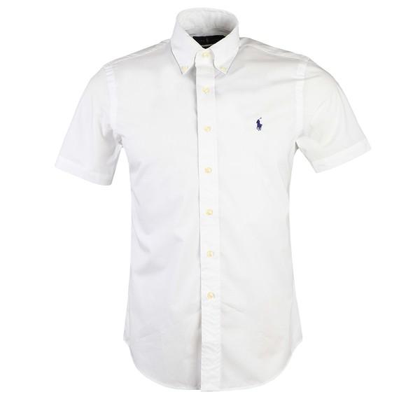Polo Ralph Lauren Mens White Custom Fit Stretch Short Sleeve Shirt