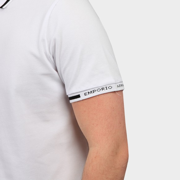 Emporio Armani Mens White Tipped Sleeve Logo Polo Shirt main image