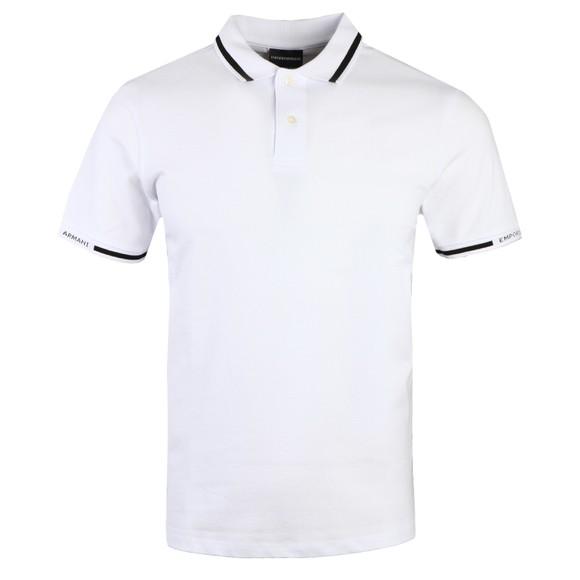 Emporio Armani Mens White Tipped Sleeve Logo Polo Shirt