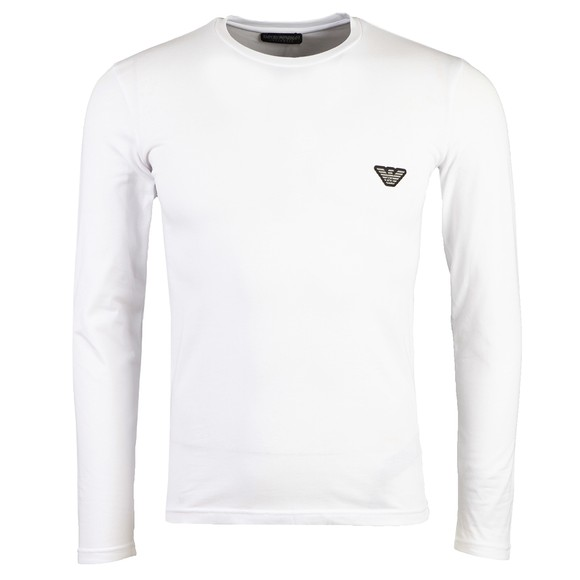 Emporio Armani Mens White Embroidered Logo Stretch Long Sleeve T Shirt