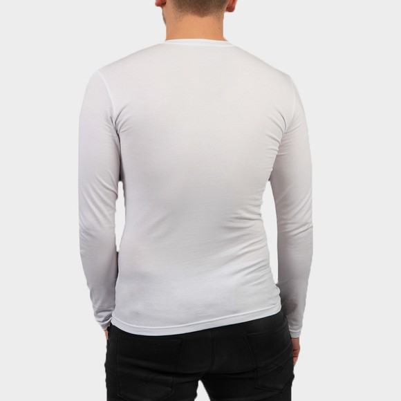Emporio Armani Mens White Embroidered Logo Stretch Long Sleeve T Shirt main image
