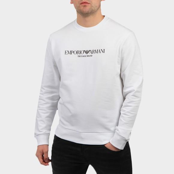 Emporio Armani Mens White The Eagle Brand Sweatshirt