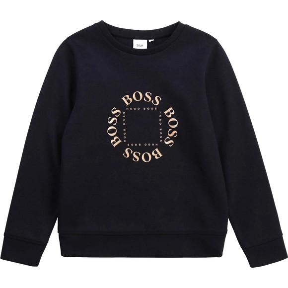BOSS Boys Blue J25L39 Circle Logo Sweatshirt
