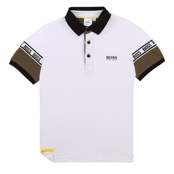 BOSS Boys White J25L23 Contrast Collar Polo Shirt