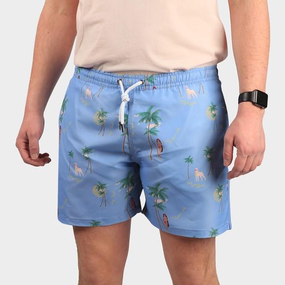 Maison Labiche Mens Blue Beach Print Swim Short