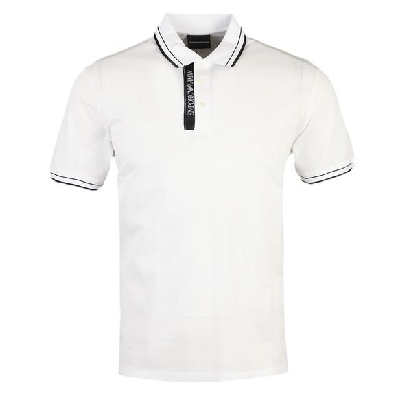 Emporio Armani Mens White Tipped Polo Shirt